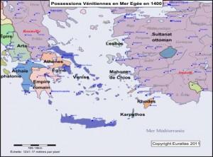 Les possessions Vénitiennes en mer Egée en 1400Bis