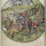 Saint Georges et le Dragon Folio 53v Heures d'Angoulême Latin 1173 BNF
