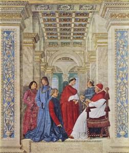 Melozzo da Forli Sixte IV désignant Platina premier préfet de la bibliothèque Sixtine