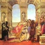Calomnie d'Apelle par Sandro Botticelli 1495 Détrempe sur bois 62 × 91 cm Galerie des Offices