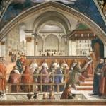 Le Politien et Pierre de Medicis (1472-1503) Détail Chapelle Sassetti La vie de saint François d'Assise Confirmation de la règle Franciscaine par Honorius III Domenico Ghirlandaio Basilique Santa Trinita de Florence