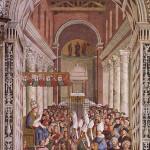 Fresque du Pinturicchio Librairie Piccolomini (annexe de la cathédrale de Sienne) Couronnement de Pie II sans doute à l'Eglise du Latran