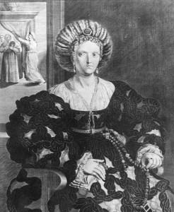 Lucrece Borgia Duchesse de Ferrare âgée gravure de Corneille Van Balen l'ancien d'après Guerchino Cabinet des Estampes Crédit photo Tallandier Paris BNF