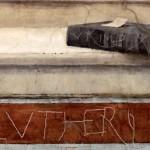 Graffiti de Lansquenet Luthérien sur une fresque de Raphael Chambre de la Signature Palais du Vatican