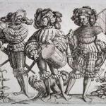 Les 5 Lansquenets vers 1530 gravure par Daniel Hopfer