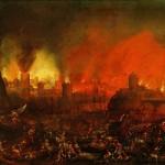 Sac de Rome Peinture italienne du 17eme siecle