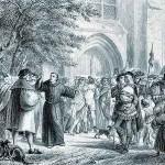 Martin Luther placarde ses 95 theses sur la porte de l'église de Wittemberg