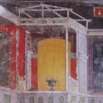 Dessin en perspective Fresque Pompei Maison de Marcus Lucretius Fronto Détail d'un mur du Tablinum