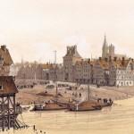 Hôtel de ville de Paris et la place de Grève en 1583 Gravure de Theodor Josef Hubert Hoffbauer 1839 1922 Musée Carnavalet