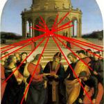 Lignes de fuite du mariage de la vierge de Rafael