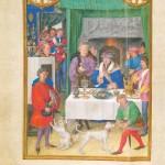 Banquet d'un riche seigneur au mois de Janvier Folio 1v Simon Bening Bréviaire Grimani Bibliothèque Marciana à Venise