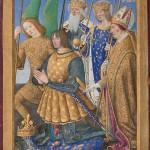 Livre d'heures de Louis XII Jean Bourdichon Louis XII agenouillé avec les saints Louis, Michel, Denis et Charlemagne,
