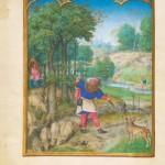 Mois de Novembre Récolte des glands et chasse au lièvre Folio 11v Simon Bening Bréviaire Grimani Bibliothèque Marciana à Venise
