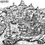 Vue de Genes Fin du XVeme siecle Gravure sur bois de Michael Wohlgemut ou Wilhelm Pley Ouvrage Weltchronik de Hartmann Schedel, edité a Nuremberg en 1493