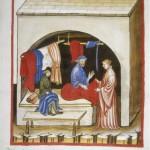 Codex Vindobonensis, series nova 2644 : Couturier vendant des vêtement de soie Inv n° CAL-F-004944-0000 Tacuinum sanitatis (Tableau de santé). Folio 104 verso. 1370-1400 Autriche, Vienne, Österreichischen Nationalbibliothek