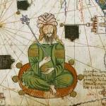 Le Khan de la Horde d'Or Atlas catalan (détail de l'Asie occidentale : mer Caspienne et golfe Persique) Attribué à Abraham Cresques, 1375. Manuscrit enluminé sur parchemin, 12 demi-feuilles de 64 x 25 cm chacune BnF, département des Manuscrits, Espagnol 30, tableau IV