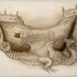 Coque d'un navire porté par un dragon, vue de profil, et esquisse du dragon Pisanello (dit), Pisano Antonio di Puccio (avant 1395-1455) Inventaire n°INV2289-recto Paris, musée du Louvre, D.A.G.