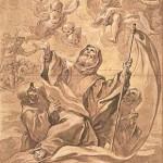 Saint François de Paul traversant le détroit de Messine sur son manteau Ecole Italienne