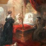 Saint François de Paule prophétisant un fils - le futur François Ier - à Louise de Savoie, épouse de Charles d'Angoulême. Théodore Van Thulden. XVIIe