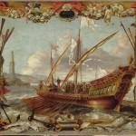 Prince sur une galère en train d'appareiller Teniers David (1610-1690) peintre Van Kessel Jan I (1626-1679) Inventaire n° MNR731 Paris, musée du Louvre