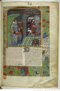 L'auteur , Evrart de Conty à gauche et au fond, Déduit et une jeune demoiselle jouent une partie d'échecs Fr 143 Folio 1 r BNF