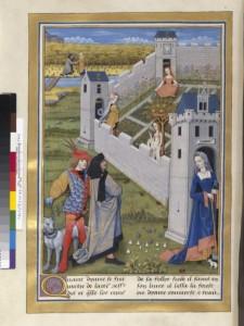 Diane, Déduit et Evrart de Conty s'apprêtent à entrer dans le Verger Fr 143 Folio 198v BNF