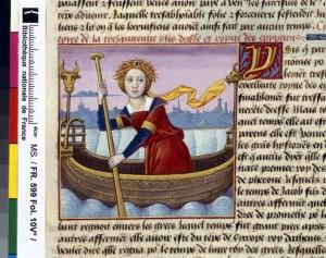 Boccace De mulieribus claris Traduction Laurent de Premierfait Illustrations Robinet Testard FrançaisFrançais 599, fol. 10v, Arrivée d Isis en Égypte BNF
