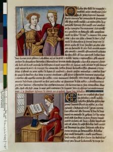 Boccace De mulieribus claris Traduction Laurent de Premierfait Illustrations Robinet Testard Français 599, fol. 18v, Orithye et Antiopè Hérophilè lisant BNF
