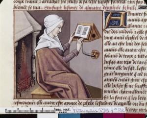 Boccace De mulieribus claris Français Traduction Laurent de Premierfait Illustrations Robinet Testard 599, fol. 22, Démophilè lisant BNF