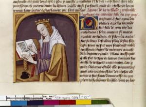Boccace De mulieribus claris Traduction Laurent de Premierfait Illustrations Robinet Testard  Français 599, fol. 22v, Carmenta écrivant BNF