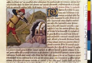 Boccace De mulieribus claris Traduction Laurent de Premierfait Illustrations Robinet Testard Français 599, fol. 24, Mort de Procris BNF