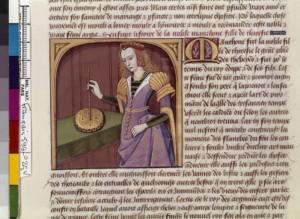 Boccace De mulieribus claris Traduction Laurent de Premierfait Illustrations Robinet Testard Français 599, fol. 25v, Mantô pratiquant la magie BNF
