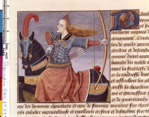 Boccace De mulieribus claris Traduction Laurent de Premierfait Illustrations Robinet Testard Français 599, fol. 27v, Penthésilée BNF
