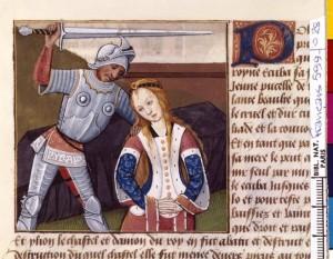 Boccace De mulieribus claris Traduction Laurent de Premierfait Illustrations Robinet Testard Français 599, fol. 28, Mort de Polyxène BNF
