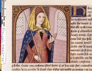 Boccace De mulieribus claris Traduction Laurent de Premierfait Illustrations Robinet Testard Français 599, fol. 28v, Hécube BNF