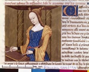 Boccace De mulieribus claris Traduction Laurent de Premierfait Illustrations Robinet Testard Français 599, fol. 29, Cassandre musicienne BNF