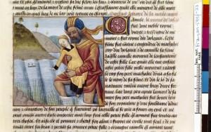Boccace De mulieribus claris Traduction Laurent de Premierfait Illustrations Robinet Testard Français 599, fol. 33, Métabus fuyant avec Camille BNF