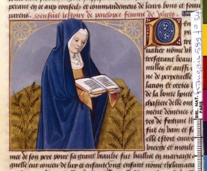 Boccace De mulieribus claris Traduction Laurent de Premierfait Illustrations Robinet Testard Français 599, fol. 34, Pénélope lisant BNF