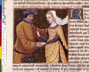 Boccace De mulieribus claris Traduction Laurent de Premierfait Illustrations Robinet Testard Français 599, fol. 40v, Réa Silvia et son amant BNF
