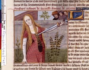 Boccace De mulieribus claris Traduction Laurent de Premierfait Illustrations Robinet Testard Français 599, fol. 42v, Suicide de Lucrèce BNF