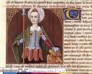 Boccace De mulieribus claris Traduction Laurent de Premierfait Illustrations Robinet Testard Français 599, fol. 43v, Tomyris BNF