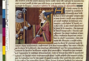 Boccace De mulieribus claris Traduction Laurent de Premierfait Illustrations Robinet Testard Français 599, fol. 45v, Athalie et soldat(s) BNF