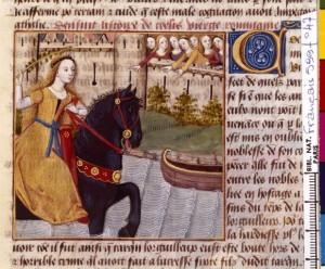 Boccace De mulieribus claris Traduction Laurent de Premierfait Illustrations Robinet Testard Français 599, fol. 47, Fuite de Cloelia BNF
