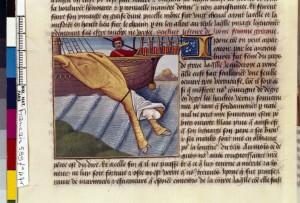 Boccace De mulieribus claris Traduction Laurent de Premierfait Illustrations Robinet Testard Français 599, fol. 47v, Suicide de Hippo BNF