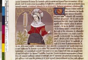 Boccace De mulieribus claris Traduction Laurent de Premierfait Illustrations Robinet Testard Français 599, fol. 48v, Veturia filant BNF