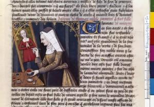 Boccace De mulieribus claris Traduction Laurent de Premierfait Illustrations Robinet Testard Français 599, fol. 50, Timarete peignant BNF