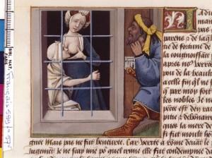 Boccace De mulieribus claris Traduction Laurent de Premierfait Illustrations Robinet Testard FrançaisFrançais 599, fol. 57v, Romaine allaitant sa mère BNF