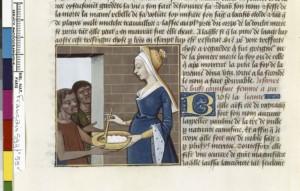 Boccace De mulieribus claris Traduction Laurent de Premierfait Illustrations Robinet Testard FrançaisFrançais 599, fol. 59v, Busa faisant l aumône BNF
