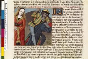 Boccace De mulieribus claris Traduction Laurent de Premierfait Illustrations Robinet Testard FrançaisFrançais 599, fol. 63v, Vengeance de Chiomara BNF