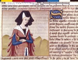 Boccace De mulieribus claris Traduction Laurent de Premierfait Illustrations Robinet Testard FrançaisFrançais 599, fol. 65v, Sempronia BNF